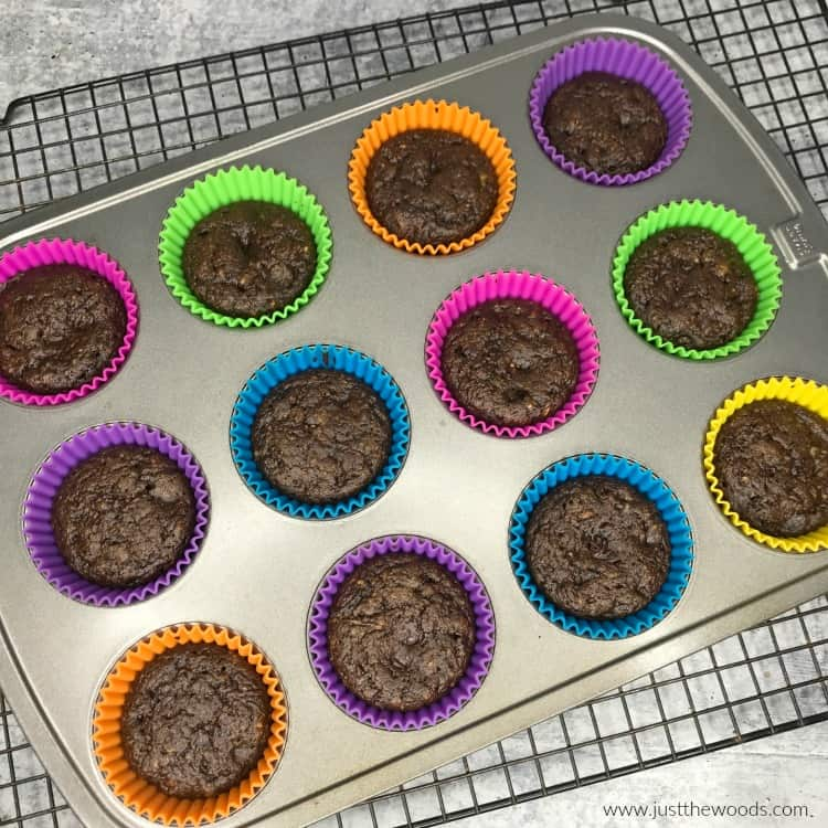 chocolate zucchini muffins in silicone muffin liners