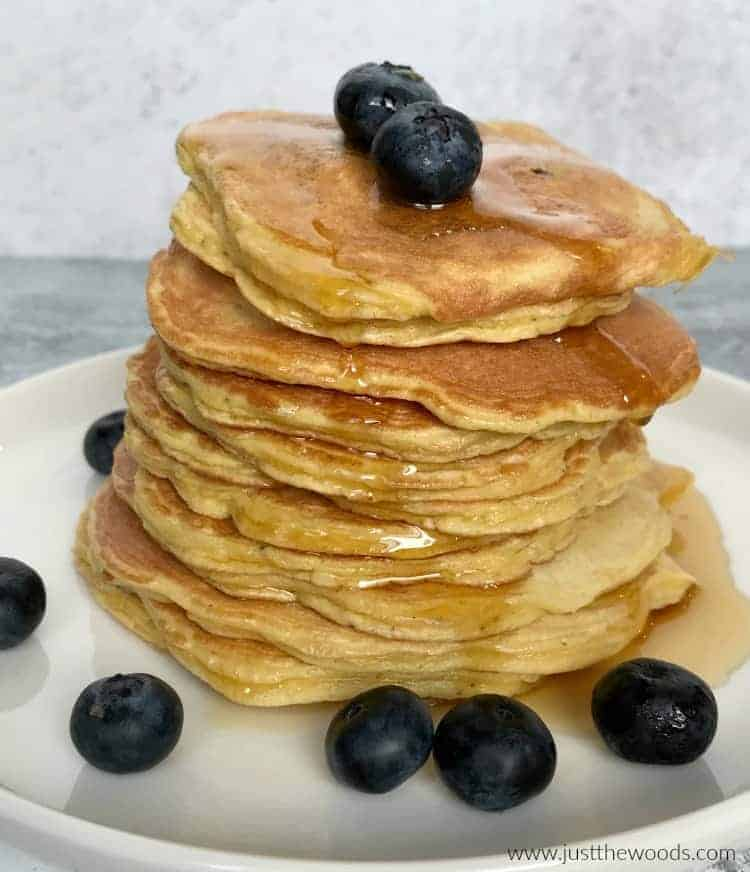 stack of healthy blueberry pancakes, gluten free pancakes