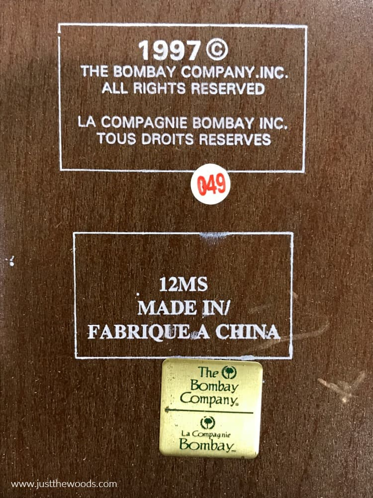 the Bombay company logo, made in 1997, Bombay Company tables