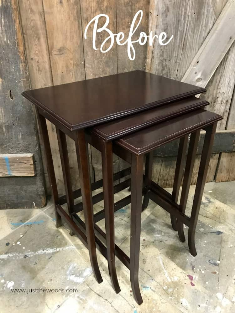 unpainted brown nesting tables
