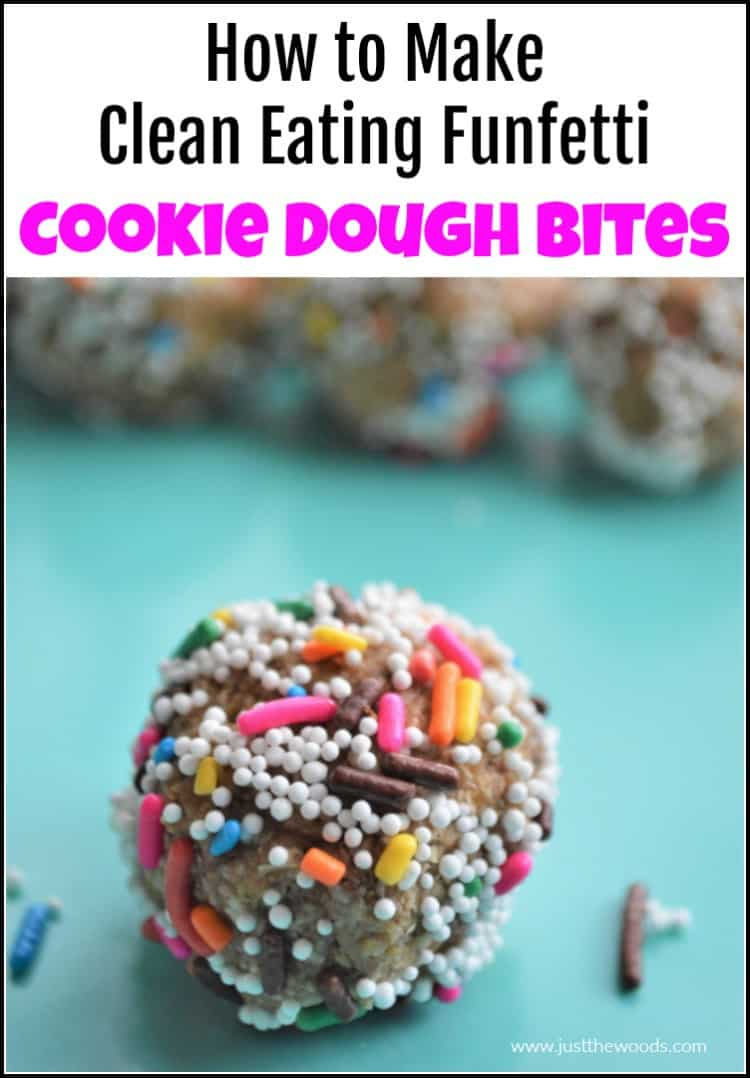 funfetti cookie dough bites with sprinkles on blue background