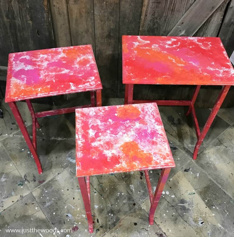 nesting tables makeover with red orange and pink chalk paint