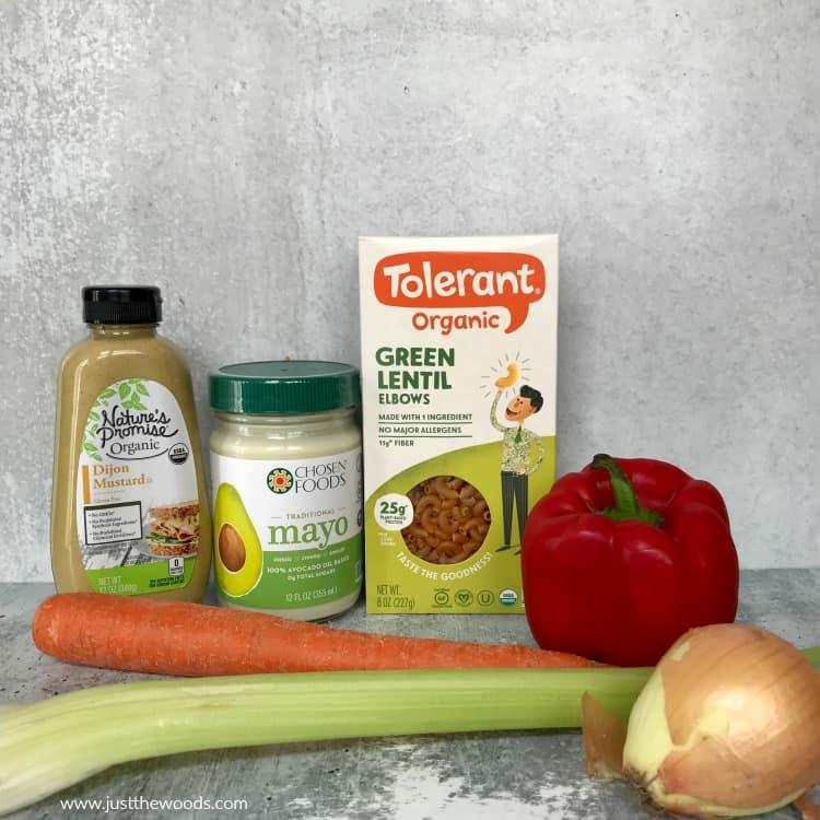 macaroni salad ingredients, how to make macaroni salad, lentil pasta macaroni salad