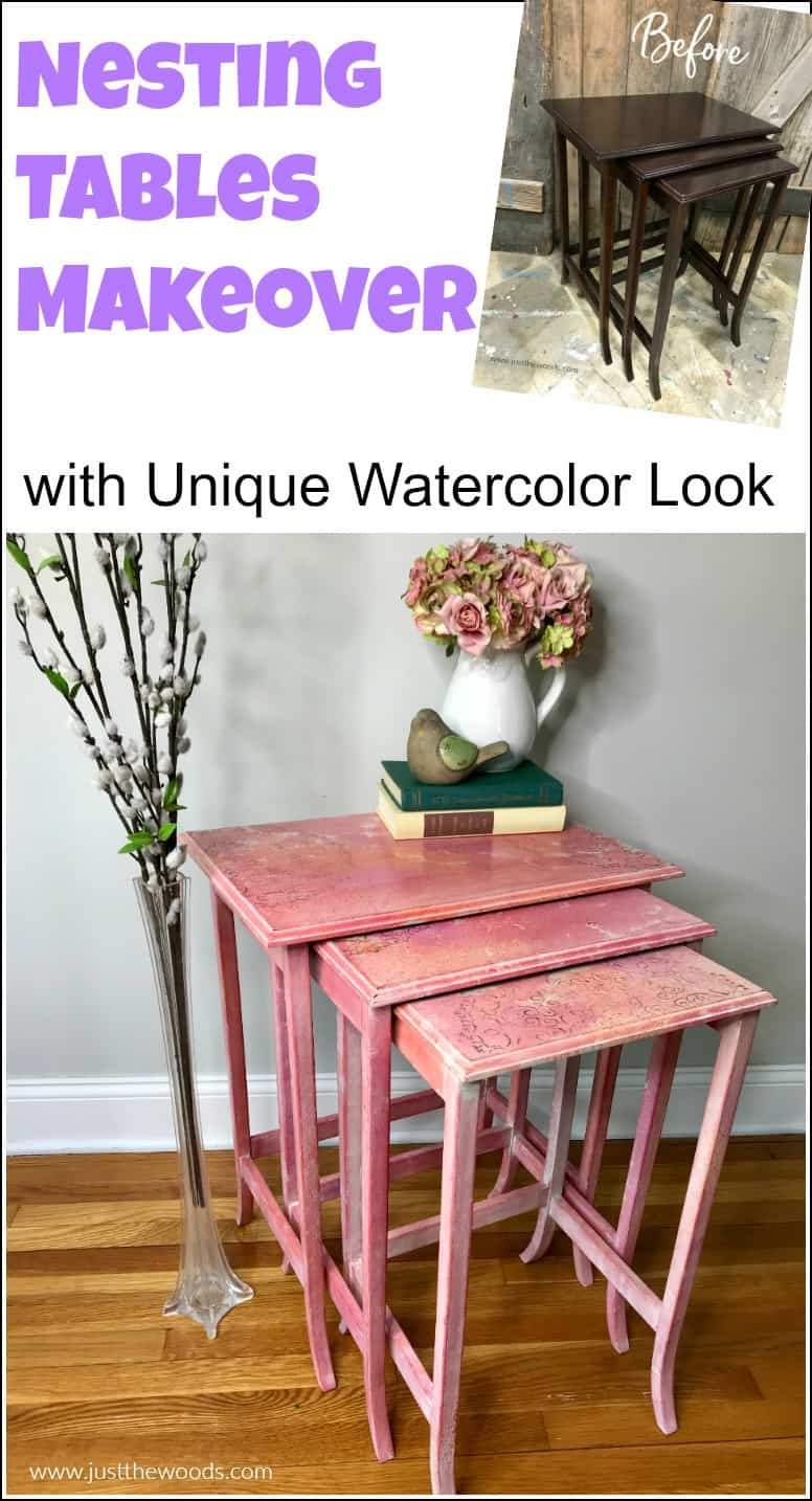 pinterest image for nesting tables makeover with watercolor effect using texture whitewash and stencil