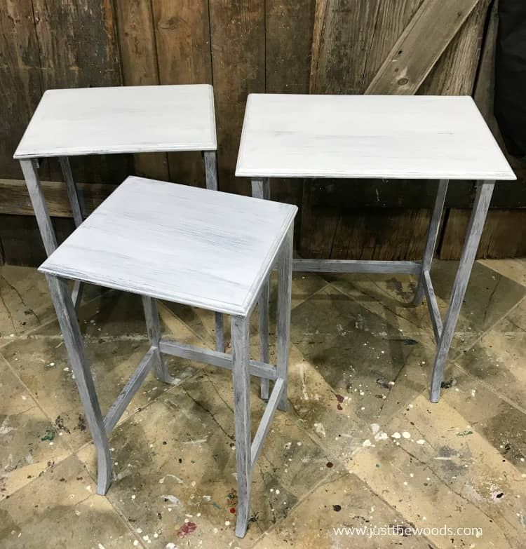set of nesting end tables with gay primer