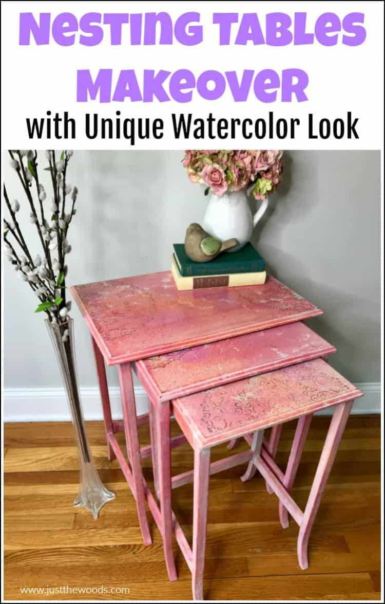pink painted nesting tables with whitewash and texture, gold stencil.
