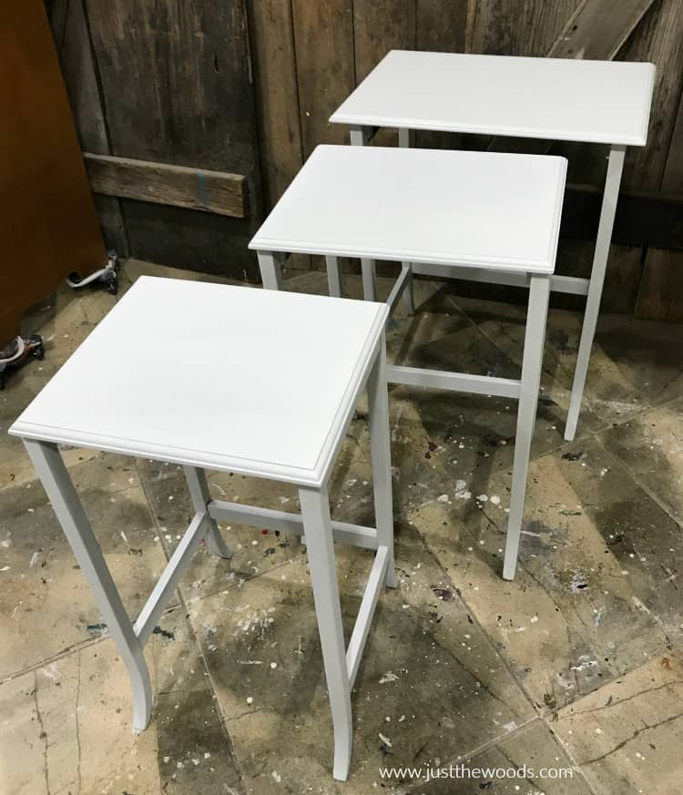 nest of tables with base coat of light white gray chalk paint