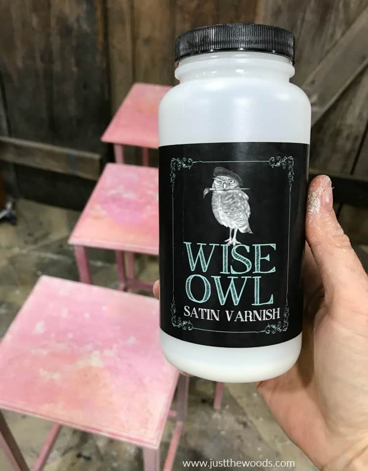 container of wise owl satin varnish for sealing painted furniture