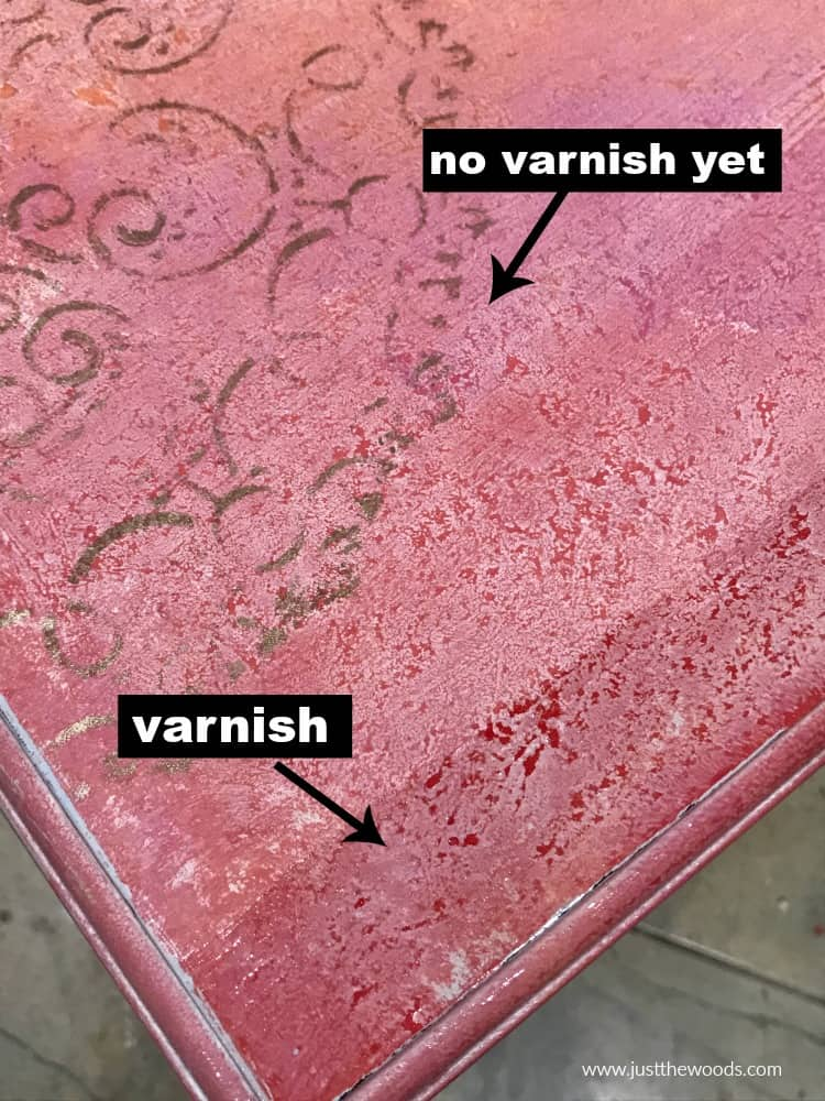 pink painted table top with varnish and no varnish comparison
