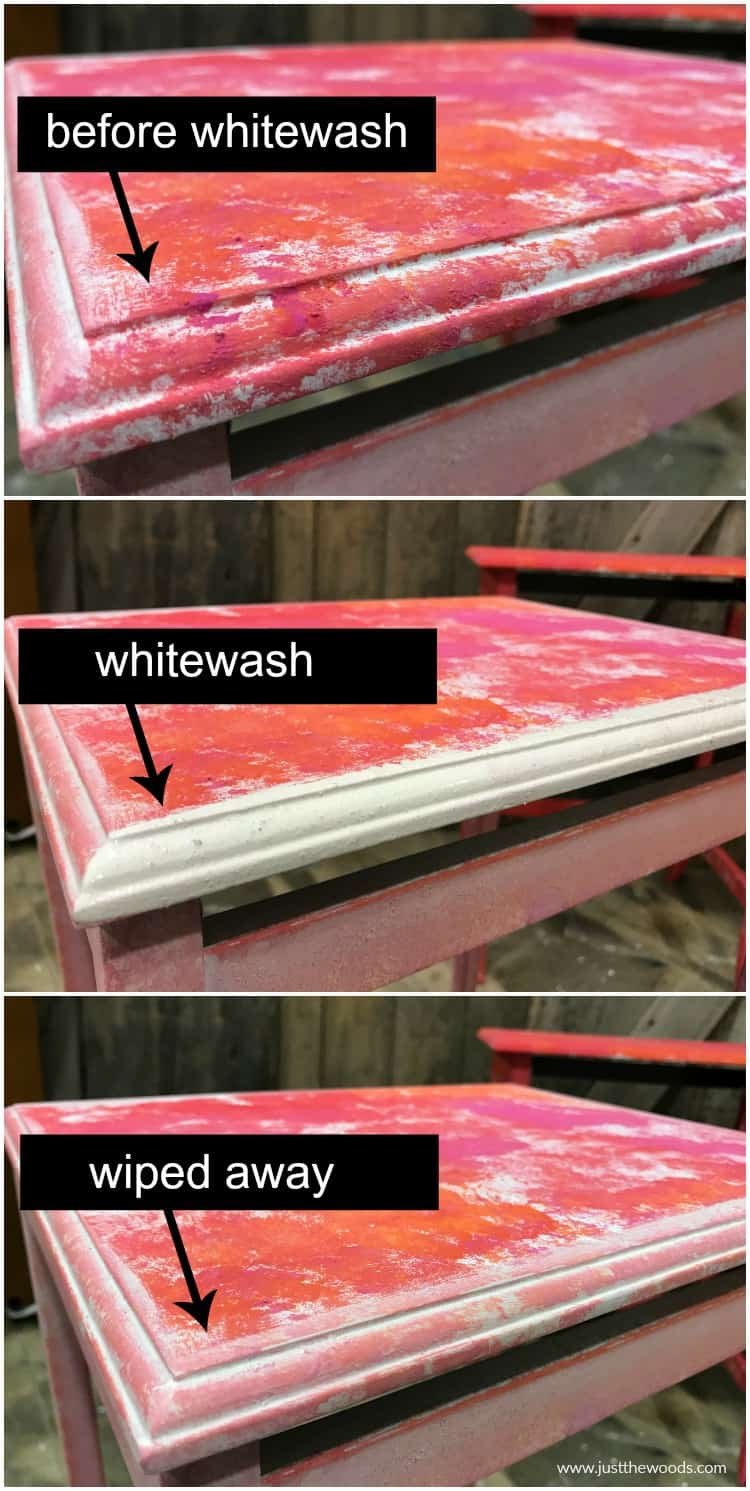 step by step of white wash application on colorful painted nest of tables