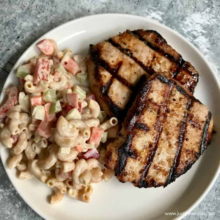 healthy macaroni salad with grilled pork chops