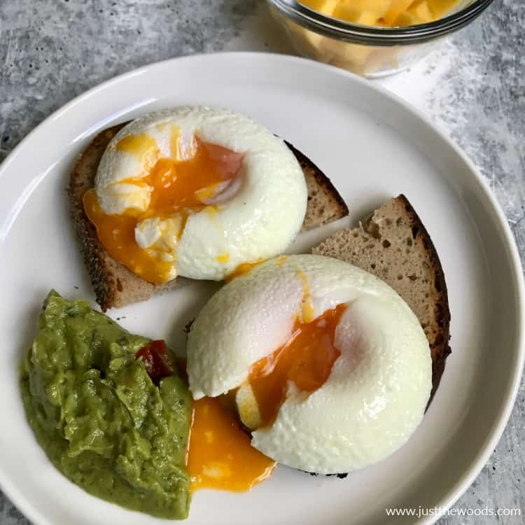 making poached eggs on toast with guacamole