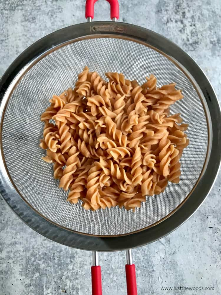 gluten free vegetable pasta in strainer