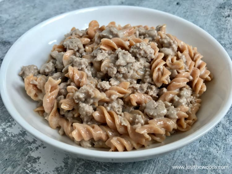 hamburger helper alternative with dairy free sauce and veggie pasta