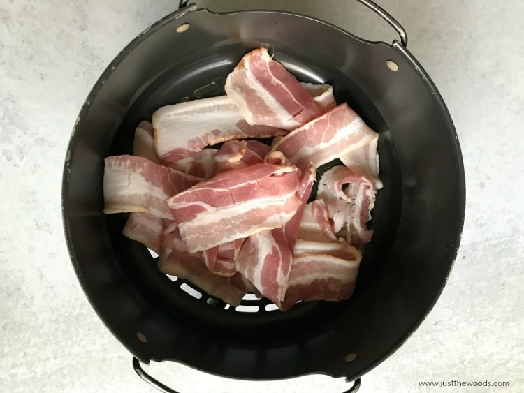 bacon in air fryer basket Ninja Foodi