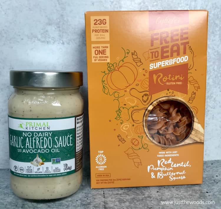 dairy free alfredo sauce, gluten free pasta