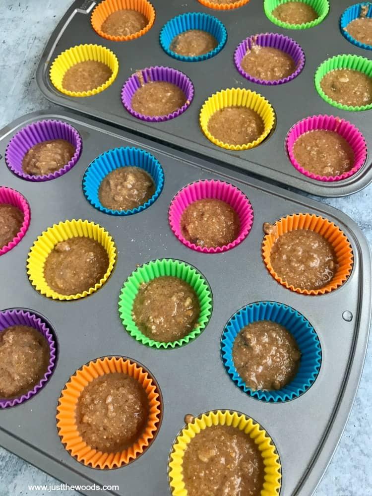 making zucchini bread muffins