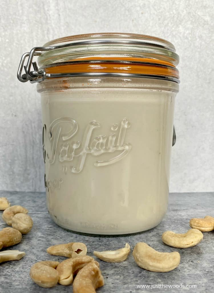 homemade cashew milk with raw cashews