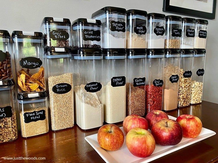 organized pantry items in clear containers