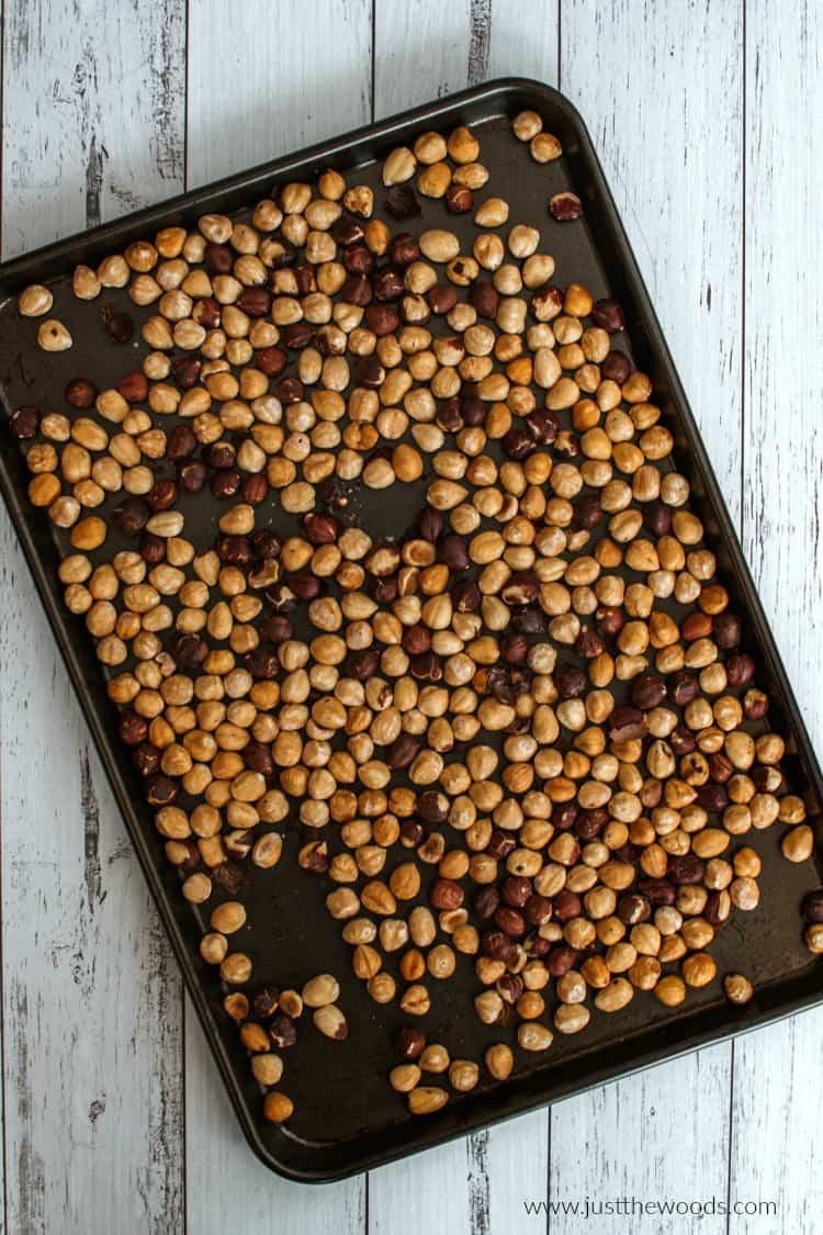 hazelnuts on baking sheet