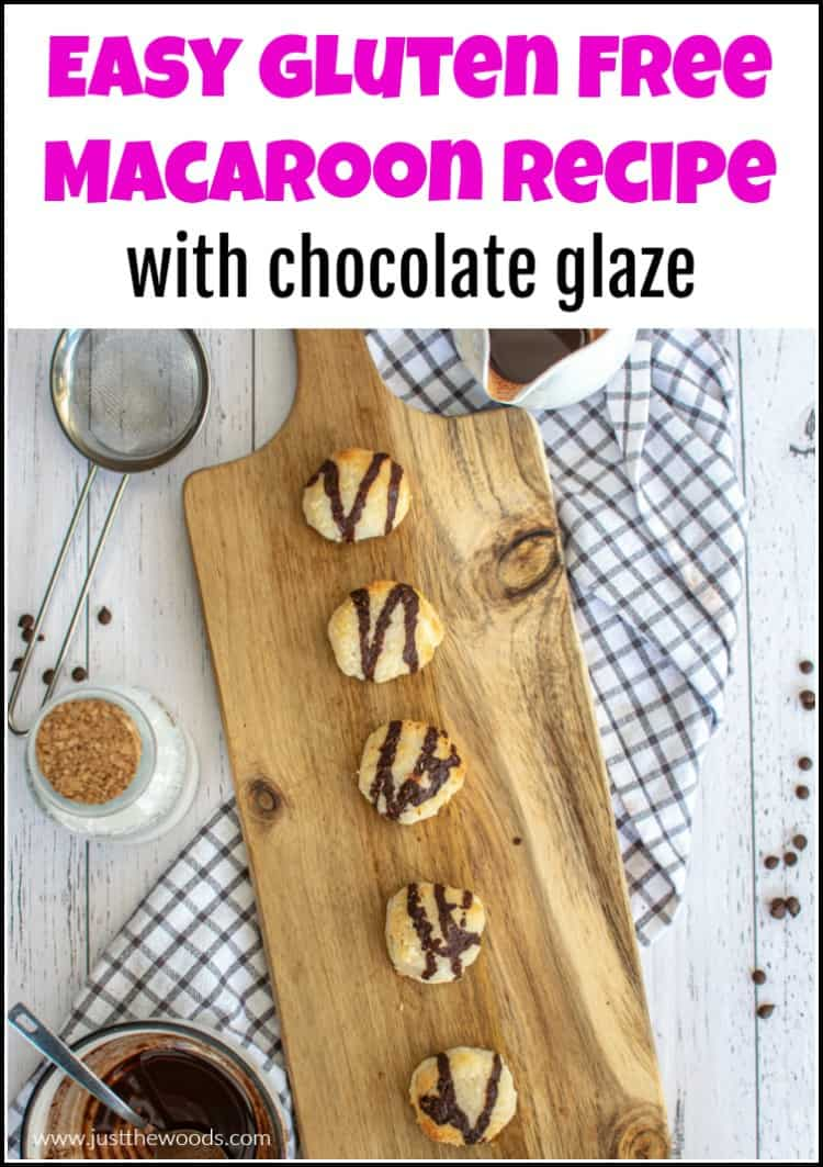 macaroons with cacao drizzle on wood board
