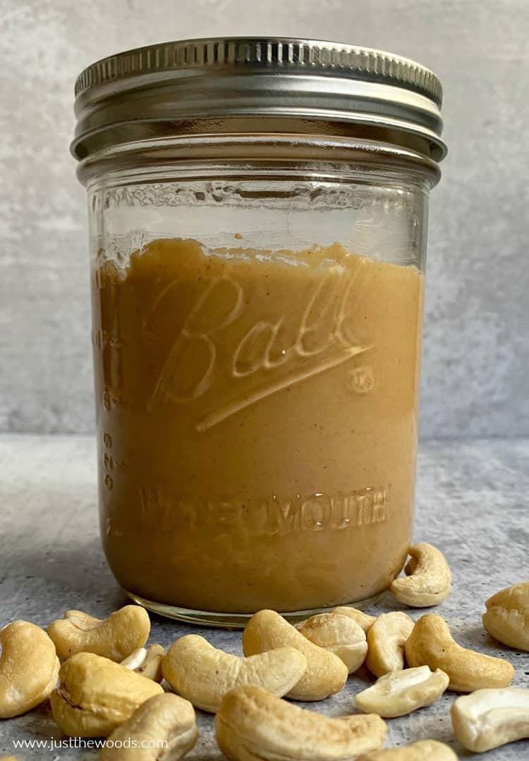 homemade cashew butter in mason jar