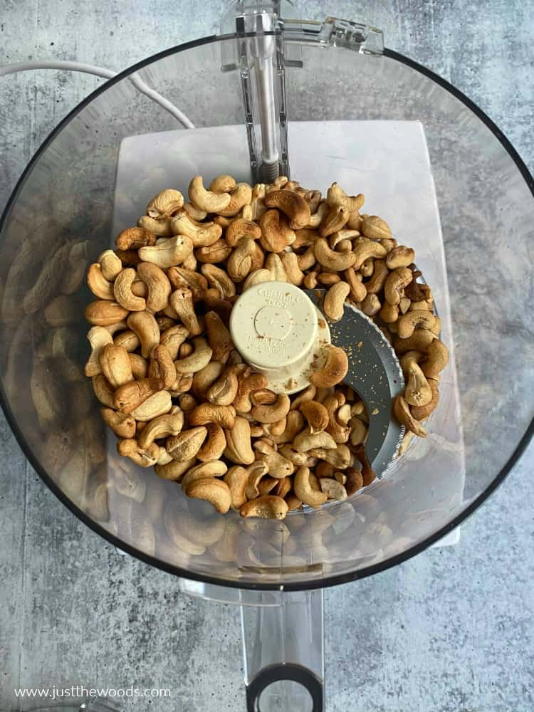how to make cashew butter, cashews in food processor