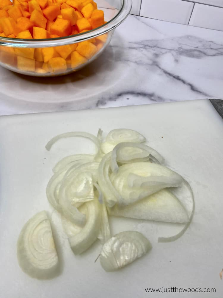 sliced onions with squash
