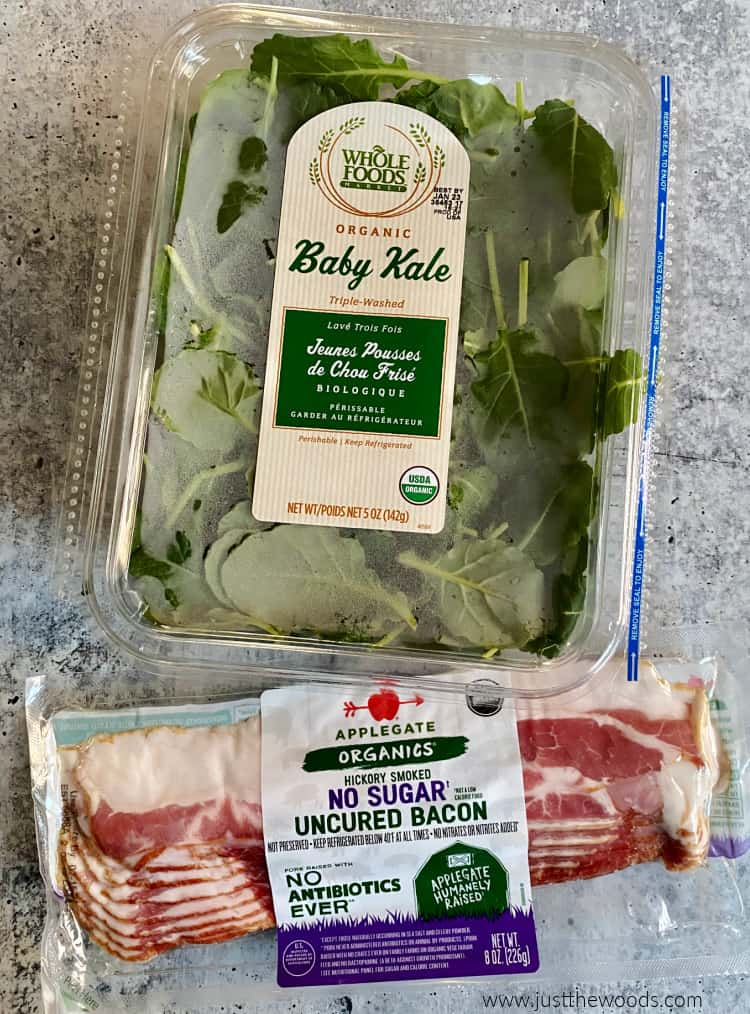 baby kale and organic bacon